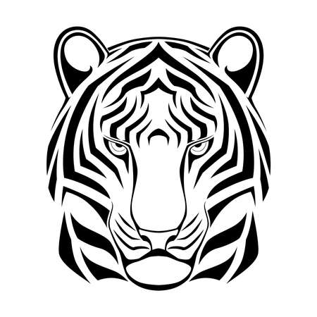 Abstract tiger in the form of a tribal tattoo Vectores
