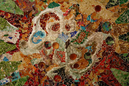 Detail of mosaic sun, Gaudí. Park Güell, Barcelona Stock Photo - 5909855