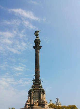 colonizer: Christopher Columbus statue, Barcelona Stock Photo