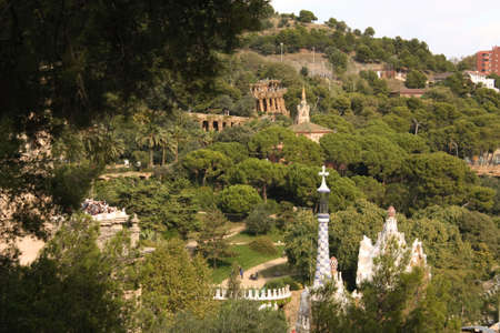 architectonics: Panoramic of Park Guell, from the mountain of Caramel, designed and built by Antonio Gaudi, Barcelona. Stock Photo