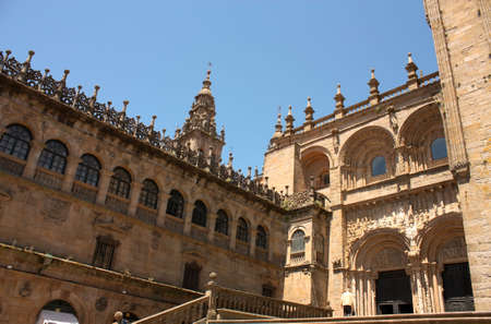 The cathedral of Santiago de Compostela is the reputed burial-place of Saint James the Greater, one of the apostles of Christ. It is the destination of the Way of St. James (popularly known by its local denominations: Galician: Cami–o de Santiago, Portugu Stock Photo - 6356360