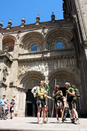 Santiago de Compostela. May 31th, 2009. Pilgrims on the Camino de Santiago in Plater�as door, after arriving in Santiago de Compostela.2010 is a Jacobean Holy Year. Spain