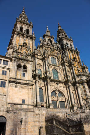 The cathedral of Santiago de Compostela is the reputed burial-place of Saint James the Greater, one of the apostles of Christ. It is the destination of the Way of St. James (popularly known by its local denominations: Galician: Cami�o de Santiago, Portugu Stock Photo - 6381639
