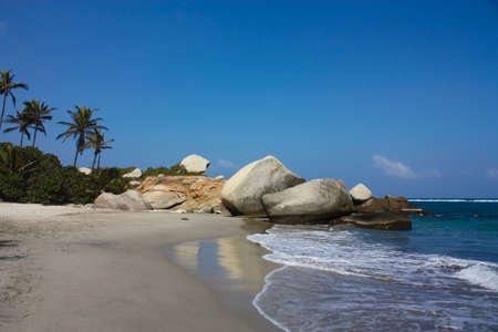 Caribbean beach with tropical forest. Tayrona National Park. Colombia Stock Photo