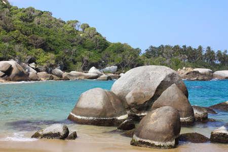 briny: Caribbean beach with tropical forest. Tayrona, Colombia