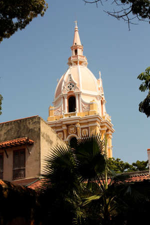 catolic: Cathedral of Cartagena de Indias from the palace of the Inquisition, Caribbean, Colombia Archivio Fotografico