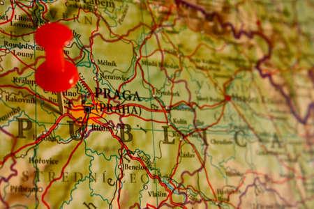 holiday destination: Prague. map showing the location of Prague, tourist destination photo