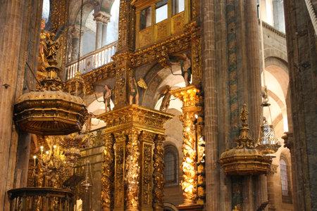 catolic: interior of Cathedral - Santiago de Compostela, Spain Editorial