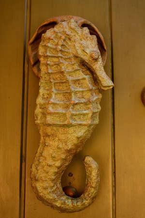Metal knocker shaped sea horse. Spanish colonial style door. Cartagena de Indias, Colombia.  photo