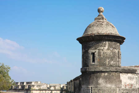 Colonial Wall of Cartagena de Indias. Colombia. Wall of the old city. The walls were designed in order to protect the Cartagena suffering ongoing attacks. Its construction was carried out in stages, beginning in 1586 and ending in 1721 Stock Photo - 6500023