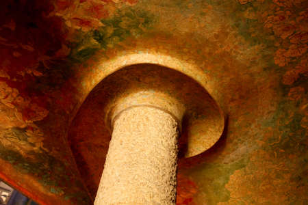 Columns inside Casa Mila or La Pedrera. Painted ceiling. Catalan Modernism. Stock Photo - 6523972