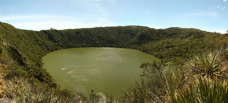 rites: Guatavita volcanic lagoon, Cundinamarca, Colombia. It was the sacred lake and center of the rites of the Indians Muiscas (Chibcha). Stock Photo