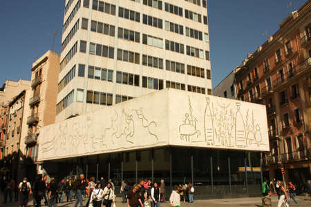 Pablo Picasso's frize, Barcelona.  Opposite the Cathedral of Barcelona, the building of the College of Architects of Catalonia exhibits three friezes of Pablo Picasso. This drew on the paper and the photographer and sculptor Carl Nesjar.  Stock Photo - 6890400