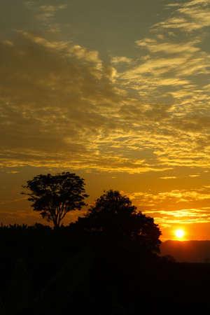 martha: Sunset in the middle of the Colombian tropics. The Sierra Nevada de Santa Marta (Snowy Mountain Range of Saint Martha). Stock Photo