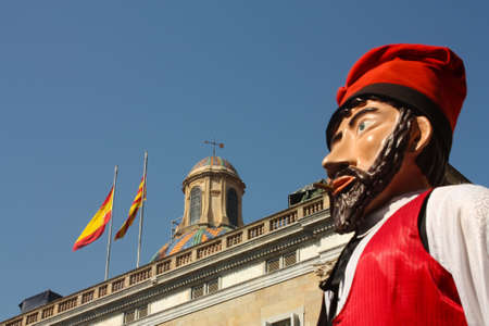 Giants and large heads. Traditional festivals Barcelona, Jaume Square. Fiestas de la Merc�. Behind the Palace of the Generalitat, in a provincial government