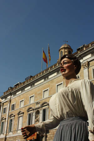 generalitat: Giants and large heads. Traditional festivals Barcelona, Jaume Square. Fiestas de la Merc�. Behind the Palace of the Generalitat, in a provincial government