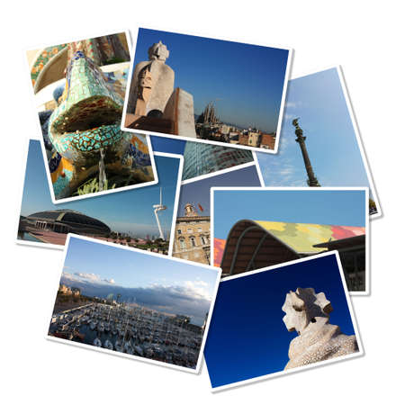 conceptual image: Cards with different images of the city of Barcelona: Colon, Gaud�, Port, Europe sports competition square ... Spain