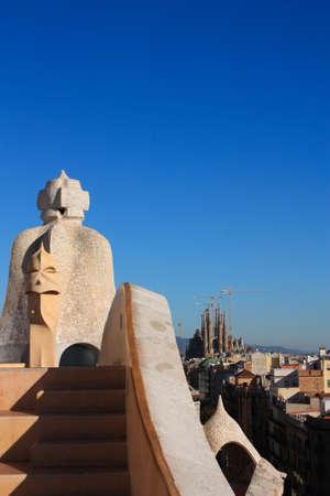 Casa Mila and Sagrada Familia. La Pedrera is also known as Casa Mila. Built in 1905 by Antonio Gaudi. The Temple of La Sagrada Familia is still under construction.
