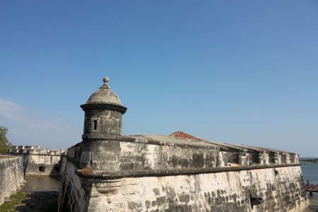 Wall of the old city. The walls were designed in order to protect the Cartagena suffering ongoing attacks. Its construction was carried out in stages, beginning in 1586 and ending in 1721