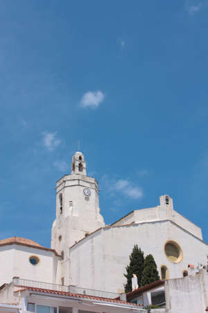 The Church of Cadaques is a symbol in the village. Cadaques, a small coastal town, is the people of the Catalan painter Salvador Dali. Costa Brava, Spain photo