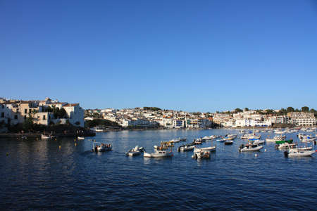 Boats in the bay of Cadaques. Panoramic, The village of Salvador Dali, in Costa Brava, Gerona, Catalonia, Spain.  photo