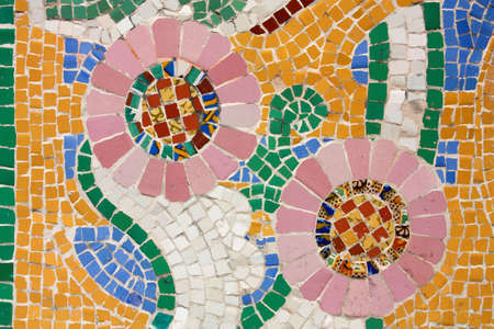 palau: Floral mosaic. The Palau de la Musica Catalana (Palace of Catalan Music) is a concert hall designed in the Catalan modernista style by the architect Lluis Domenech i Montaner. It was built between 1905 and 1908. Barcelona, Catalonia, Spain.