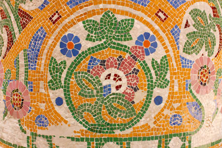 Floral mosaic. The Palau de la Musica Catalana (Palace of Catalan Music) is a concert hall designed in the Catalan modernista style by the architect Lluis Domenech i Montaner. It was built between 1905 and 1908. Barcelona, Catalonia, Spain. photo