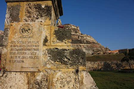 designated: Entrance of San Felipe de Barajas castle. Cartagena de Indias, Colombia. In 1984, Cartagenas colonial walled city and fortress were designated a UNESCO World Heritage Site. Stock Photo