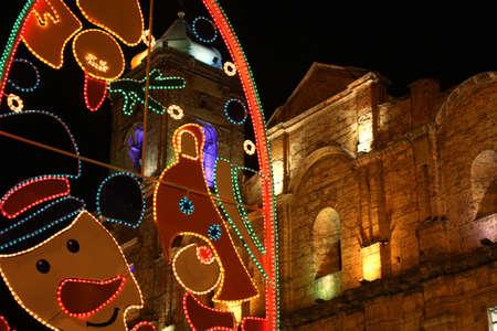 Zipaquira Christmas. Church Christmas lights and decorations, Bogota departement. Stock Photo - 7389877