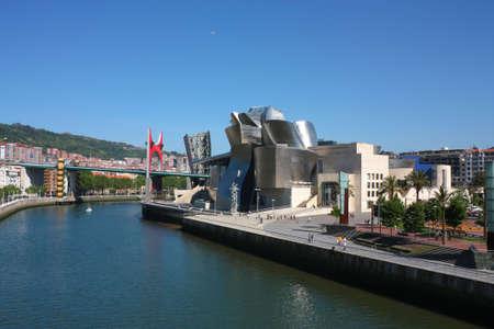 futurism: Bilbao Nervion River as it passes by the Guggenheim and bridge La Salve, Euskadi, Spain