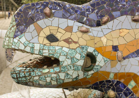 Gaudis dragon is located at the entrance to Park Guell, modernist work of Antonio Gaudí. Barcelona photo