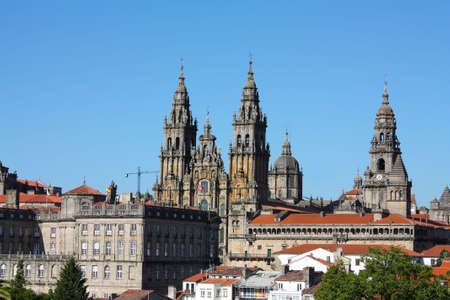 The cathedral of Santiago de Compostela is the reputed burial-place of Saint James the Greater, one of the apostles of Christ. It is the destination of the Way of St. James (popularly known by its local denominations: Galician: Cami�o de Santiago, Portu Stock Photo - 7977890