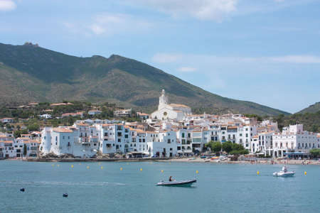 Cadaques, a small coastal town, is the people of the Catalan painter Salvador Dali. The Church of Cadaques is a symbol in the village.  Costa Brava, Spain photo