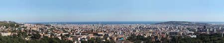 futbol: Grande rassegna di Barcellona. Formato grande. Si pu� osservare in dettaglio la Torre Agbar, La Sagrada Famila, la montagna di Montjuic, la Torre di Calatrava o lo stadio di calcio di Nou Camp Archivio Fotografico