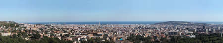 futbol: Great overview of Barcelona. Large Format. One can observe in detail the Agbar Tower, La Sagrada Famila, the mountain of Montjuic, the Calatrava Tower, or the Nou Camp football stadium Stock Photo