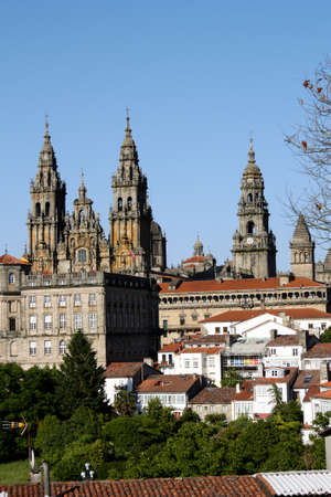 Panoramic of Compostela. Cathedral of Santiago de Compostela is the reputed burial-place of Saint James the Greater, one of the apostles of Christ. It is the destination of the Way of St. James, a major historical pilgrimage route since the Middle Ages. Stock Photo - 8583052