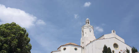 The Church of Cadaqués is a symbol in the village. Cadaques, a small coastal town, is the people of the Catalan painter Salvador Dalí. photo