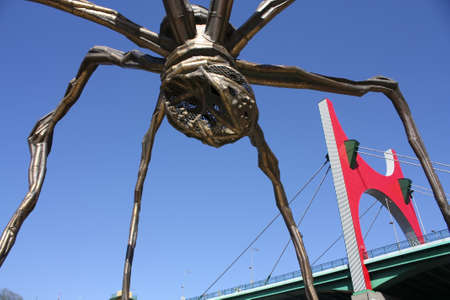 La Salve bridge, the gateway to the city of Bilbao, and The giant spider Mama, the artist Louise Bourgeois. the Guggenheim Museum, Bilbao, Euskadi, Spain. Photo taken on: May 22nd, 2010