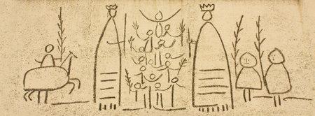 pablo: Dettaglio del fregio Festival di Pablo Picasso, Piazza del Duomo, Barcelona, Catalonia, Spagna. Il Collegio degli architetti della Catalogna presenta tre fregi di Picasso. Questo ha fatto su carta ed � stato realizzato dallo scultore Carl Nesjar. Foto scattata: 16 ottobre 2009.