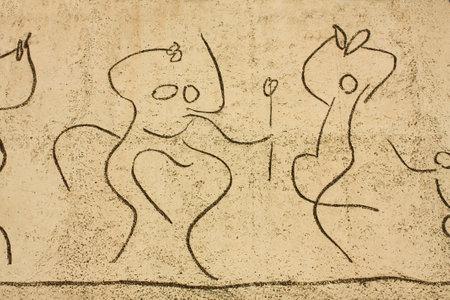 pablo: Dettaglio del fregio di bambini da Pablo Picasso, Piazza del Duomo, Barcelona, Catalonia, Spagna. Il Collegio degli architetti della Catalogna presenta tre fregi di Picasso. Questo ha fatto su carta ed � stato realizzato dallo scultore Carl Nesjar. Foto scattata: 16 ottobre 2009.