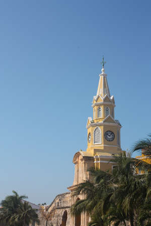 The Clock Tower. Neo-Gothic style, the tower stands on the main gate of the original city walls. The set is one of the best known architectural symbols of the city. Cartagena, Caribbean Colombia. Photo taken on: Jan 14, 2010