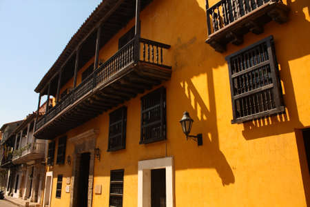 Dowtown of Cartagena de Indias, spanish colonial style. In 1984, Cartagenas colonial walled city and fortress were designated a UNESCO World Heritage Site. Cartagena, Caribbean Colombia. Photo taken on: Jan 14, 2010