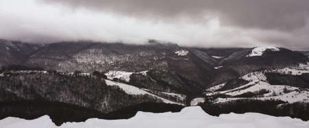 northern spain: Snow-capped Pyrenees. Irati jungle or forest, Navarra, northern Spain