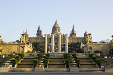 montjuic: Barcelona, Spain - March 9, 2011 - National Palace of Barcelona, with the four pillars that symbolize the Catalan flag. Built following the International Exposition of 1929, held in the mountain of Montjuic. Today is National Museum of Catalan Art, MNAC.