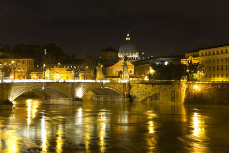 cityscape of Rome. Tiber river, Vittorio Emanuele bridge and  Banco de Imagens