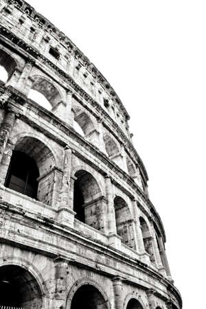 The Colosseum or Coliseum (Colosseo) in Rome. Monochrome photography. Stock Photo