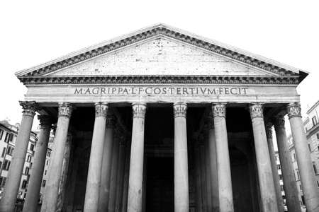 pilasters: Facade of Marcus Agrippa Pantheon in Rome. Monochrome photography. Stock Photo