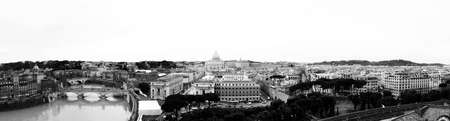 View of the city of Rome, Italy, Vatican City in the center. Monochrome photography. Photomontage Large (7453 x 2000 px) photo