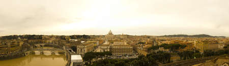 photomontage: View of the city of Rome, Italy, Vatican City in the center. Photomontage Large (8666 x 2500 px) Stock Photo
