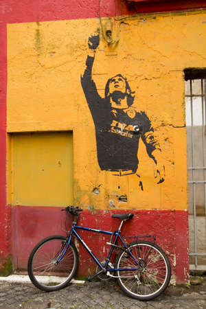 ROME - MARCH 19: Graffiti in honor Lionel Messi by Banksy, on March 19, 2011,in Rome, Italy.Rome, Italy, Mar 19, 2011. Graffiti in honor to Lionel Messi, play Argentine Futbol Club Barcelona, by street artist Bansky. District of Monti, Rome.Graffiti in ho